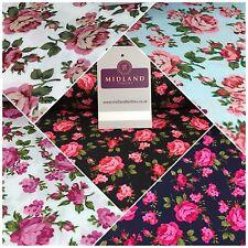 "Floral Vintage Shabby Chic 100% Cotton Poplin printed fabric 44"" M732"