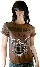 Amplified Ramones 1974 EAGLE LOGO CUCITURA esterno Rock Star Vintage buchi T-SHIRT L