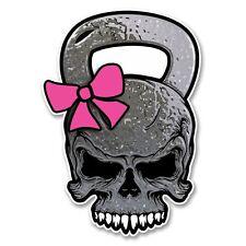 2 x rosa Skull KETTLEBELL VINILE ADESIVO LAPTOP VIAGGI BAGAGLIO AUTO # 6154