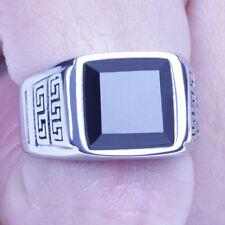 US Seller Men Vintage Silver Stainless Steel Black CZ Biker Ring Size 8-12 SR130