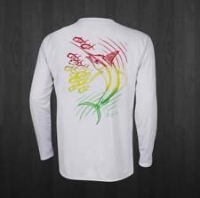 Men's White Rasta Marlin Performance Fishing Shirts