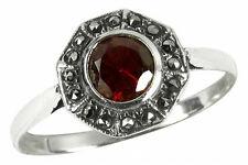 925 ECHT SILBER *** Granat Markasit Ring, Größenauswahl