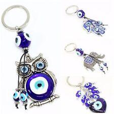 Blue Evil Eye Owl Elephant Hamsa Hand Love Key Ring Keychain Charm Blessing Gift