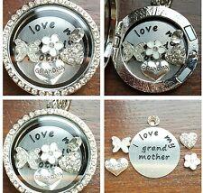 I love my grandma Personalised Keyring Locket Necklace Floating Charm Gift