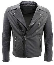 Men's Black Slim Fit Brando Style Double Cross Zip 100% Leather Biker Jacket