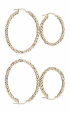 Ovale Creolen Gold 585 mit Struktur Ohrringe Gelbgold Goldcreolen zwei Größen