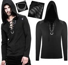 Sweat capuche hoodie gothique punk armure cuir plissé laçage mode Punkrave Homme