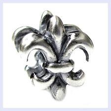 Sterling Silver Fleur-De-Lis Flower of Lily Sign Bead f/ European Charm Bracelet