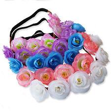 Summer Rose Flower Garland Headband Hairband. Boho Floral Chic Festival Bridal