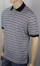 David Chu Lincs Black Cream Striped Classic Fit Interlock Polo Shirt NWT