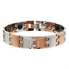 Men Women 12MM Tungsten CarbideRose Tone Bar Link Magnetic Bracelet