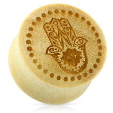Mano Hamsa Con punteado círculo de la madera orgánicos Silla Camilla Fit Ear Plug