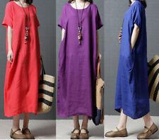 Plus Size Summer Women Skirts Cotton Linen Loose Baggy Long Maxi Dresses Casual
