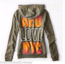 AMERICAN EAGLE AE Olive Army Green NYC Orange Back Graphic Hoodie Sweatshirt