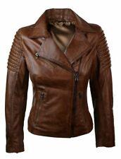Ladies Women Slim Fit Brown Genuine Real Leather Biker Jacket