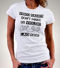 Video Games Don't Make Us Violent LAG DOES Funny Gamer T-Shirt LeRage Womens Tee