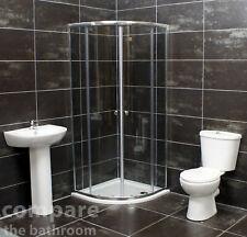 900mm Chrome Quadrant Cubicle Bathroom En-Suite Shower Suite Inc shower tray