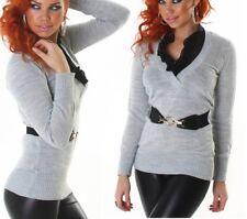 SEXY Damen Bluse Strick Pulli V Pullover Gürtel S/M 34/36 M/L 36/38 Grau Schwarz