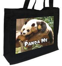 Panda Me Cotton Shopping Bag, Choice of Colours, Black, Cream