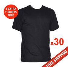 30 x Mens T-SHIRT Black blank plain tee S-3XL Bulk Cheap +2 FREE Tees