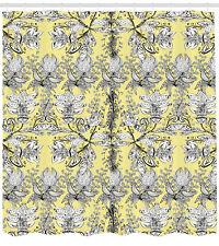Black White Shower Curtain Ethnic Floral Swirl Print for Bathroom
