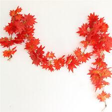 2.4M Home Decor Red Autumn Leaves Garland Maple Leaf Vine Fake Foliage Flower