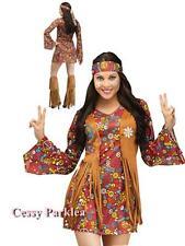 60's 70's Peace & Flower Hippie Women's Fancy Dress Costume