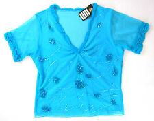 PIK ASS Shirt 40 42 türkis hellblau Pailletten Perlen ELEGANT Hochzeit Kommunion