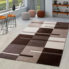 Teppich Grau Rosé Meliert Karo Design Hoch Tief Struktur Relief Prägung