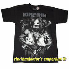 Kingpin Clothing Raider Babe Graphic T-Shirt Logo Design Printed On Back New