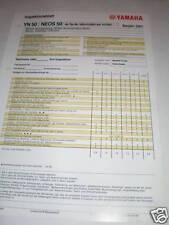 Inspektionsblatt Yamaha NEOS 50 Typ 5AD - 2001!