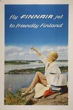 Poster Vintage Finnair Finlandia aerolínea A3/A2/A1 impresión