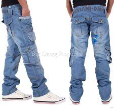 Peviani Mens Boys Teignmoth Cargo Combat Star Jeans Time Is Hip Hop Money L.BLUE