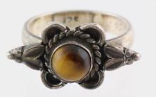 Vintage Antique Estate~Genuine Tiger's Eye 925 Sterling Silver Filigree Ring 8