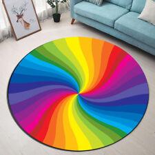 Room Area Rug Spiral Rainbow Porch Floor Beach Mat Home Round Yoga Soft Carpet