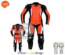 orange et noir Moto combinaison cuir avec ce armors Toutes Tailles et couleur