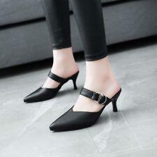 Women's Pointy Toe Mules Sandals Slippers Stiletto Mid Kitten Heels Pumps Slider