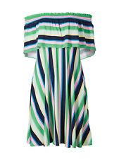 NEW-EX M&S MULTI STRIPE BARDOT SWING JERSEY DRESS - SIZES 10 12 14 16 18 Regular