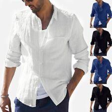 Men Baggy Cotton Linen Slim Fit Long Sleeve Button Retro T-Shirts Top Blouse Tee