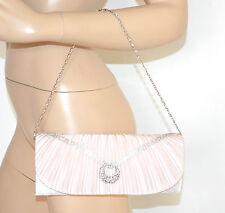 POCHETTE ROSA CIPRIA donna borsello strass borsa cerimonia raso damigella E10
