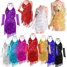 Women's 50s Rumba Latin Dance Dress Latin Tango Ballroom Costume Sequin fringe