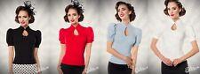 BELSIRA VINTAGE BLUSE top shirt rockabilly blau schwarz rot pinup elegant