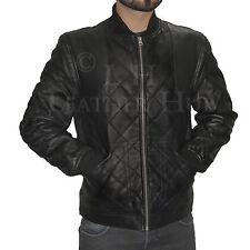 Para Hombre de Colección Chaqueta De Cuero Genuino Calce Entallado Chaqueta Estilo Ciclista Real Negro Nuevo XS-3XL