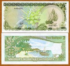 Maldives, 2 Rufiyaa, 1983, Pick 9, A-series, UNC