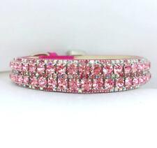 ~Rose Pink Aurora~ WIDE Crystal Bling Rhinestone Dog Pet Collar USA