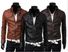 New Men's Slim Fit Zipper Designed PU Leather Jacket Coat * Free Post* 0309