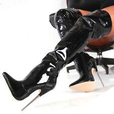 UK Women 18cm Extreme High Metal Heel Stiletto Side Zip Sexy Over the Knee Boots