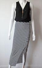 CAD29 - Jupe Extra Longue à Rayures avec Ouverture Fente à l'Avant - Mode Femme
