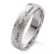 Verlobungsring Trauring Silber mit echtem Diamant und Wunsch Lasergravur EBKL43