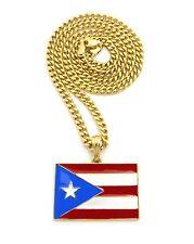 """Gold Puerto Rico Boricua Boriqua Flag Charm Pendant 24"""" Chain Necklace Jewelry"""